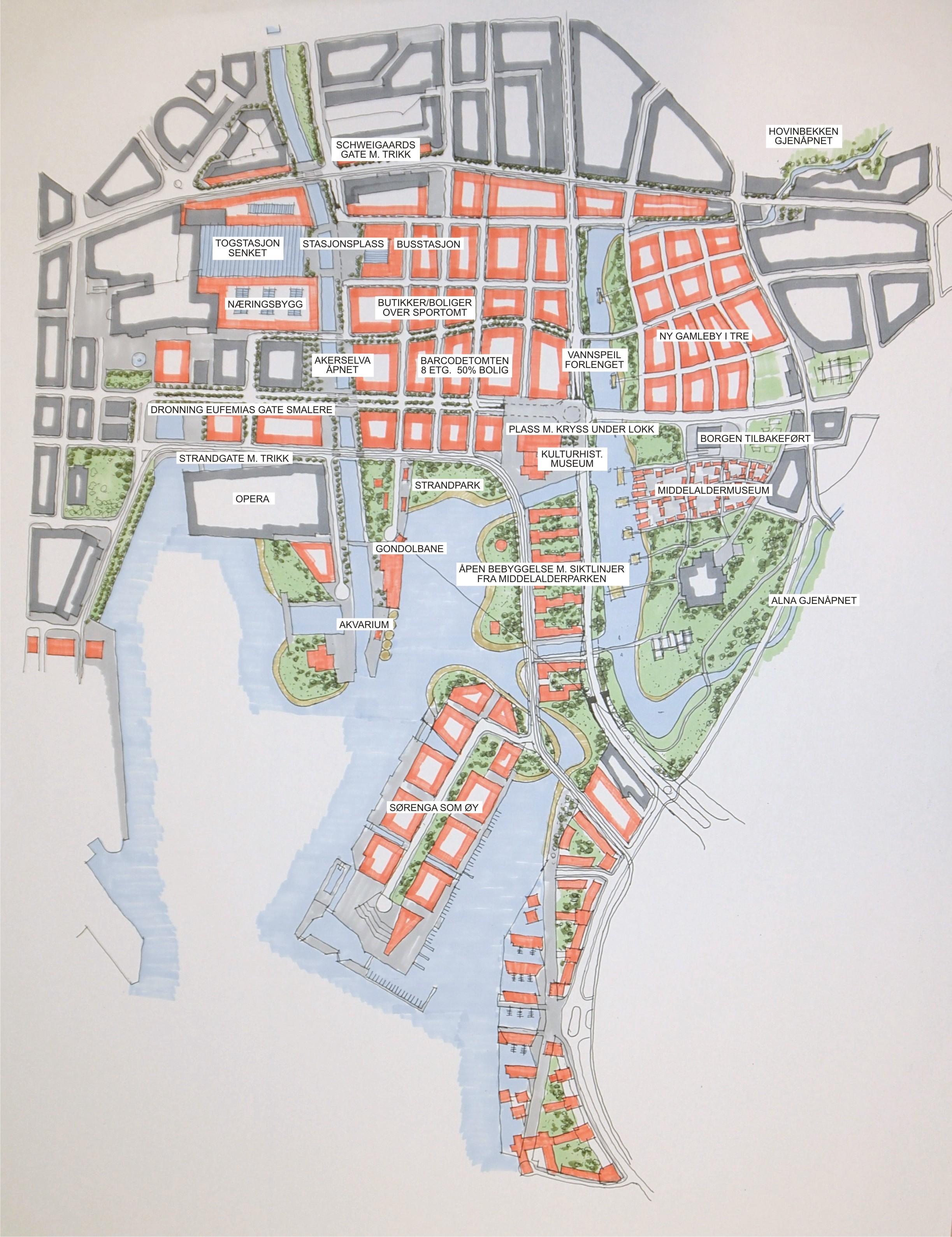 middelalderparken kart Plansmie for utvikling av Bjørvika middelalderparken kart