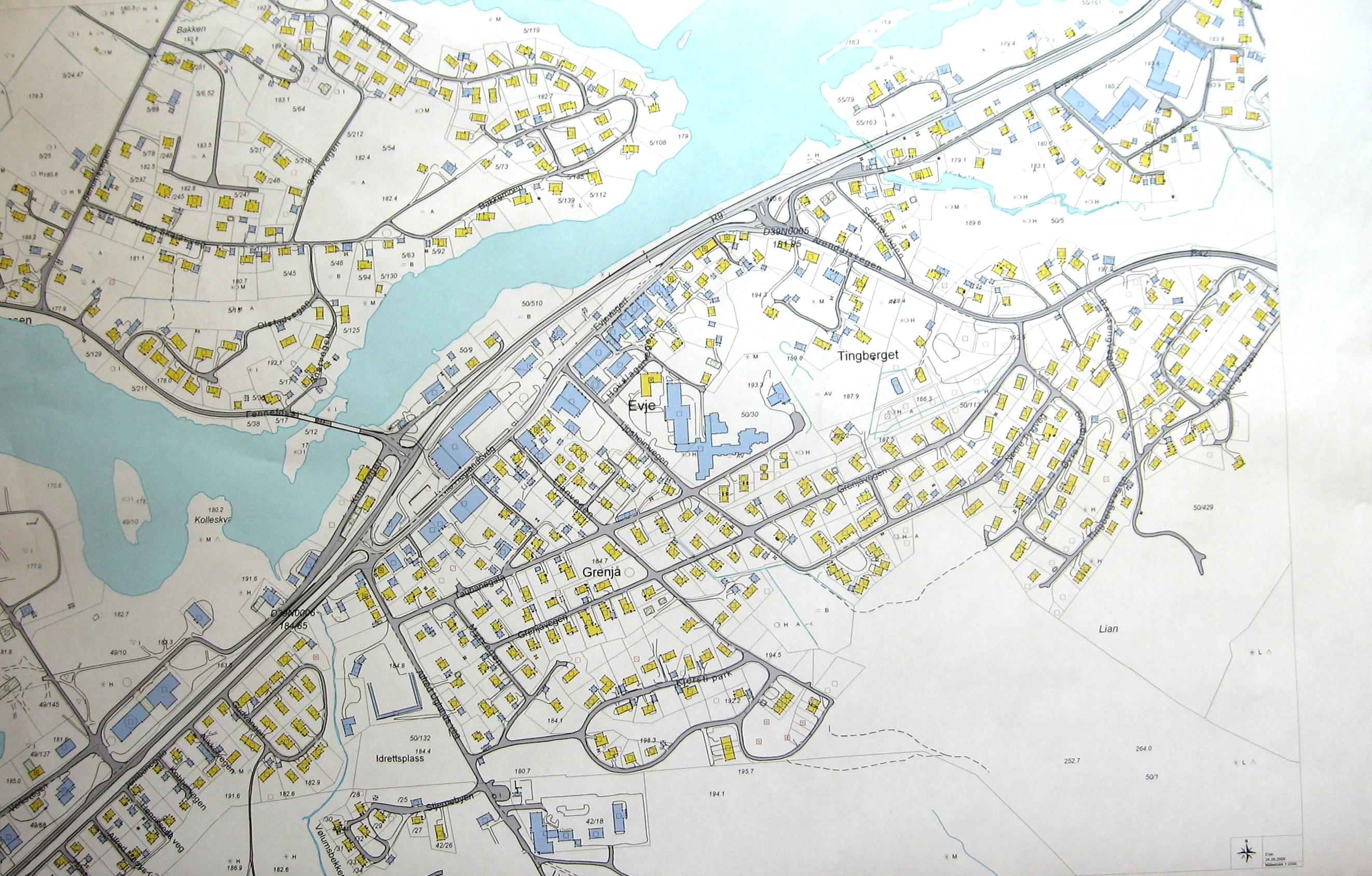 kart over evje Plansmie for utvikling av Evje Sentrum kart over evje